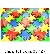 Royalty Free RF Clipart Illustration Of A 3d Jigsaw Puzzle Of Interlocked Red Yellow Green And Blue Pieces