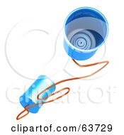 Royalty Free RF Clipart Illustration Of Two Blue 3d Tin Cans Connected To A String by Tonis Pan