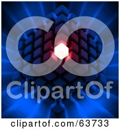 Royalty Free RF Clipart Illustration Of A 3d Cubic Structure Composed Of Cubes One Glowing Brightly