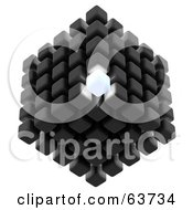 Royalty Free RF Clipart Illustration Of A 3d Gray Cubic Structure Composed Of Cubes One Glowing Brightly