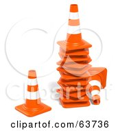 Royalty Free RF Clipart Illustration Of A Stack Of 3d Orange Construction Cones