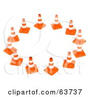 Royalty Free RF Clipart Illustration Of A Circle Of 3d Orange Construction Cones