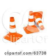 Three 3d Orange Construction Cones