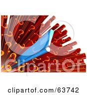 Royalty Free RF Clipart Illustration Of A 3d Blue Exclamation Point Bursting Out Of A Cluster Of Red Question Marks Version 1