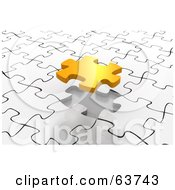 Royalty Free RF Clipart Illustration Of A Gold Piece Floating Over A White Puzzle Space