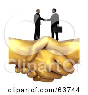 Royalty Free RF Clipart Illustration Of 3d Men Shaking Hands On Top Of A Giant Golden Handshake