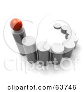 Royalty Free RF Clipart Illustration Of A 3d Red Sphere Balanced On The Top Of The Tallest Metal Cylinder In A Line Up by Tonis Pan
