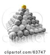 Royalty Free RF Clipart Illustration Of A 3d Yellow Orb On Top Of A Pyramid Of Cells by Tonis Pan