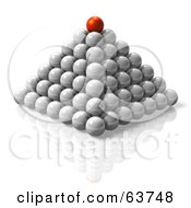 3d Red Orb On Top Of A Pyramid Of Cells