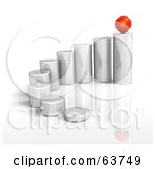 3d Metal Cylinders Arranged By Height With A Red Sphere Balanced On The Last One On A White Background