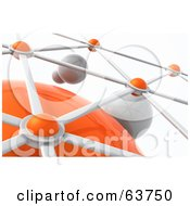 Royalty Free RF Clipart Illustration Of A 3d Silver And Orange Nexus Balls Connected To A Network