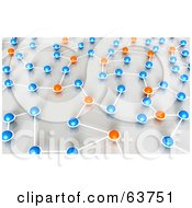 Royalty Free RF Clipart Illustration Of A 3d Network Of Orange And Blue Nexus Balls