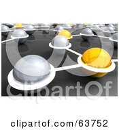 Royalty Free RF Clipart Illustration Of A 3d Network Of Yellow And Silver Nexus Balls