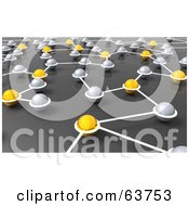 Royalty Free RF Clipart Illustration Of A 3d Network Of Silver And Yellow Nexus Balls