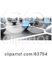 Royalty Free RF Clipart Illustration Of A 3d Network Of Gray And Blue Nexus Balls by Tonis Pan