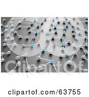 Royalty Free RF Clipart Illustration Of A 3d Network Of Blue And Gray Nexus Balls