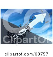 Royalty Free RF Clipart Illustration Of A 3d White Arrow Breaking Through A Dark Stone Wall And Shooting Into The Sky