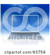 Royalty Free RF Clipart Illustration Of A Silver Laptop Over A Blue Sky The Screensaver Blending In by Tonis Pan