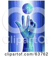 Royalty Free RF Clipart Illustration Of A 3d Blue Cyber Circuit Hand Reaching To A Floating Globe by Tonis Pan