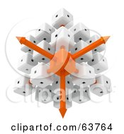 Royalty Free RF Clipart Illustration Of A 3d White And Orange Cubic Diagramatic Structure With Arrows by Tonis Pan