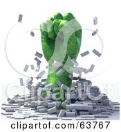 Royalty Free RF Clipart Illustration Of A 3d Green Circuit Fist Punching Through A Cubed Floor by Tonis Pan