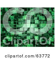 Royalty Free RF Clipart Illustration Of A 3d Green Cubic Circuit Background