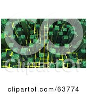 3d Green Cubic Cyber Circuit City Background