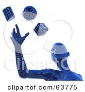 Royalty Free RF Clipart Illustration Of A Blue 3d Wire Framed Cyber Woman Reaching For A Sphere Cube And Cylinder