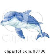Royalty Free RF Clipart Illustration Of A Swimming Blue Dolphin