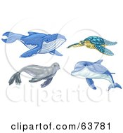 Royalty Free RF Clipart Illustration Of A Digital Collage Of Ocean Animals Whale Turtle Seal And Dolphin by Tonis Pan