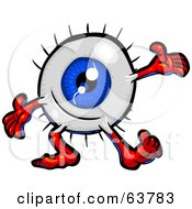 Royalty Free RF Clipart Illustration Of A Blue Eyeball Guy Cheerfully Holding His Arms Out