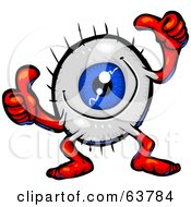 Royalty Free RF Clipart Illustration Of A Blue Eyeball Guy Giving Two Thumbs Up by Tonis Pan