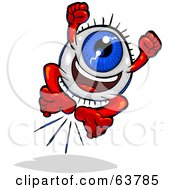 Royalty Free RF Clipart Illustration Of A Blue Eyeball Guy Leaping by Tonis Pan