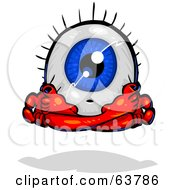 Royalty Free RF Clipart Illustration Of A Blue Eyeball Guy Meditating by Tonis Pan