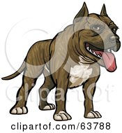 Royalty Free RF Clipart Illustration Of A Friendly Pitbull Dog