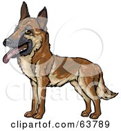 Royalty Free RF Clipart Illustration Of A Friendly German Shepherd Dog by Tonis Pan