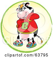 Royalty Free RF Clipart Illustration Of A Cool Cow Wearing Shoes And A B Hoodie Sweater by Alexia Lougiaki