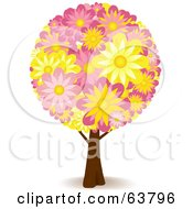 Royalty Free RF Clipart Illustration Of A Floral Tree With Yellow And Pink Flowers by elaineitalia