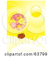Royalty Free RF Clipart Illustration Of A Floral Hot Air Balloon Floating Above The Clouds In A Sunny Yellow Sky