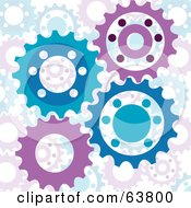 Royalty Free RF Clipart Illustration Of A Purple And Blue Turning Cog Wheel Background