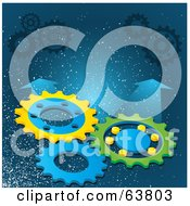 Three Turning Cogs On A Sparkly Background With Blue Arrows