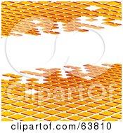 Royalty Free RF Clipart Illustration Of Orange Tiles Bordering A White Text Box by elaineitalia