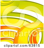 Royalty Free RF Clipart Illustration Of A Background Of Retro Orange Yellow And Green Curves On White