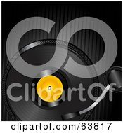 Royalty Free RF Clipart Illustration Of A Black Record Spinning Over A Black Lined Background by elaineitalia