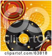 Royalty Free RF Clipart Illustration Of A Retro Record Turning Over A Bursting Retro Orange Background With Stars And Dripping Circles