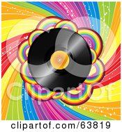 Royalty Free RF Clipart Illustration Of A Shiny Vinyl Record Spinning Over A Spiraling Rainbow Background by elaineitalia