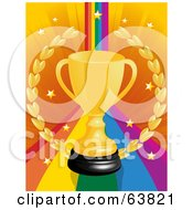 Gold Trophy Cup And Wreath On A Rainbow Background With Stars