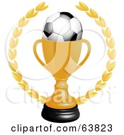 Royalty Free RF Clipart Illustration Of A Soccer Ball In A Golden Trophy Cup On A White Background by elaineitalia