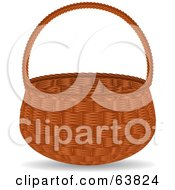 Royalty Free RF Clipart Illustration Of An Empty Wicker Basket
