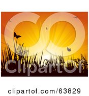 Royalty Free RF Clipart Illustration Of An Orange Sunburst Silhouetting Butterflies Ferns And Grass